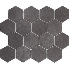 "Lava Hexagon 3"" x 3"" Stone Mosaic Tile in Black Honed"