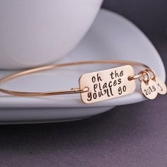 Oh the Places You'll Go Bracelet 2015 Gold Bangle Bracelet, Graduation Gift by georgiedesigns