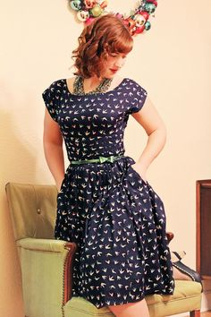 @Rebecca Brown of Midnight Maniac in an Emily & Fin dress from ModCloth #style #outfit #fashion