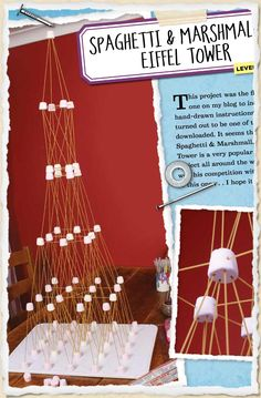 Sneak peek Spaghetti & marshmallow Eiffel Tower Amity I see this as a drinking game somehow ? Stem Projects, Science Projects, School Projects, Projects For Kids, Science Activities, Classroom Activities, Activities For Kids, Spaghetti Tower, World Thinking Day