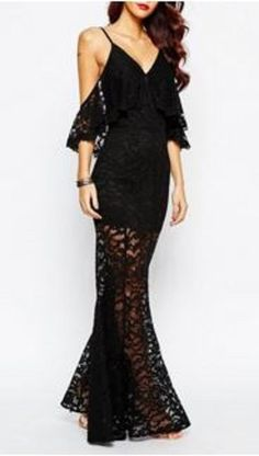 Love Love LOVE this Dress! Sexy Spaghetti Strap Black Lace Embellished See-Through Skirt Maxi Dress #Sexy #Black #Lace #Off_Shoulder #Maxi #Dress #Holiday #Party #Dress #Fashion #Ideas