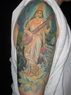 My mother 39 s tattoo hindu goddess saraswati tattoos for Maroon 5 tattoos hindu
