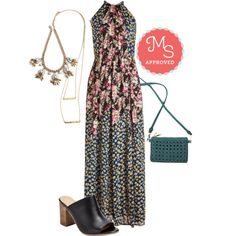 In this outfit: Getting to Flow You Dress, Endless Charm Necklace, A Dab of Dazzle Necklace, I'm the Woven One Purse, Take Aim Heel #floral #maxidress #summer #boho #festival #ModCloth #ModStylist #ootd #fashion