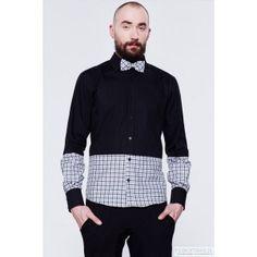 BLUE EYE POP - czarna w kratkę koszula męska