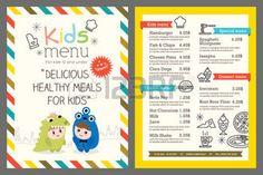 kids menu: Lindo niños coloridos plantilla de menú de la comida Vectores