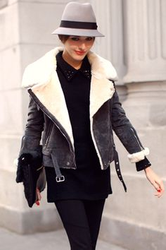 Grey Motorcycle Jacket Coat #Romwe