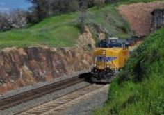 A train coming through Newcastle, CA in the spring - http://www.placercountyhomesandland.com/newcastle-ca-homes-for-sale.php