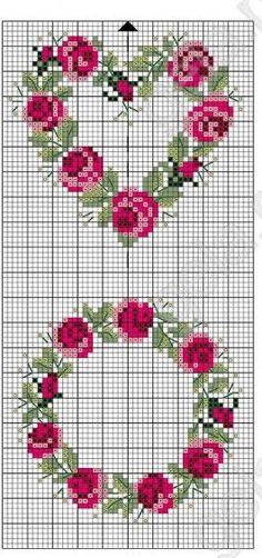 Rose wreaths free cross stitch pattern