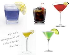 Cocktails in the Olympics colors!