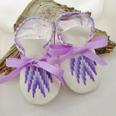 Native American Beaded Baby Moccasins and Soft Soled Shoes made of soft deer hide leather on Etsy, $58.00