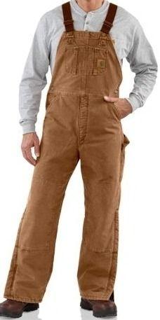 Carhartt Mens Quilt Lined Sandstone Bib Overall R27