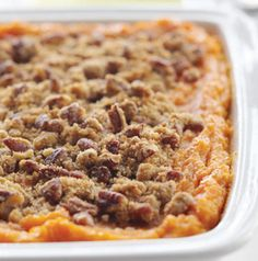 Skip the can of potatoes for this Sweet Potato Casserole.  Simply roast sweet potatoes in the oven for 45 to 60 minutes.  The topping on this casserole will have you scraping for seconds!