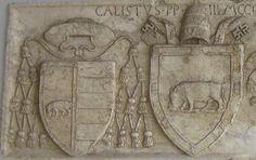 Coat of arms of Pope Calixtus III and Cardinal Rodrigo Borgia. Located on the Ponte Milvio Bridge over the Tiber RIver, Rome