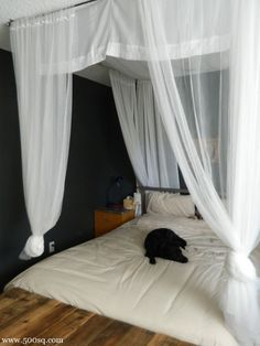 DIY Canopy Bed: seems like a nice idea for a smaller apartment, especially a mattress-on-the-floor space