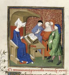 Christine de pisan reading moral proverbs at the beginning of the 'Proverbes moraux'. Harley 4431
