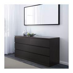 MALM 6-drawer dresser, black-brown black-brown 63x30 3/4