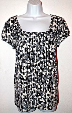 Apt 9 Casual Dotted Cap Sleeve Women's Top Blouse Size M #Apt9 #Blouse #Casual