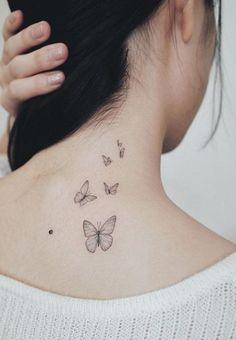 Butterfly Tattoo Meaning - Plus Stunning Tattoo Designs & Ideas - Tattoo Me Now Butterfly Tattoo Meaning, Butterfly Tattoos For Women, Small Butterfly Tattoo, Butterfly Tattoo Designs, Butterfly Tattoo On Shoulder, Dainty Tattoos For Women, Mom Tattoos, Cute Tattoos, Body Art Tattoos