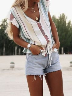 bijoux tendance été 2019 - Ropa Tutorial and Ideas Trendy Summer Outfits, Cute Casual Outfits, Short Outfits, Stylish Outfits, Spring Outfits, Summer Clothes, Outfit Summer, Stylish Eve, Beach Outfits