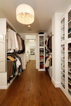 10. Chandelier chic. Dress up any master closet by installing a dramatic chandelier for effect. This is an easy and often inexpensive way to make a change for the better.