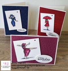 A trio of cards with the Beautiful You set coloured with the Stampin' Blends. #stampinblends #beautifulyou #stampinupaustralia