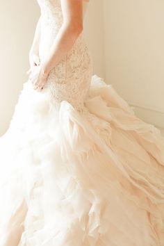 Epic Ruffled Wedding Dress  | Allison Mannella Photography | Ivory and Oak - Ethereal Spring Wedding Invitation in Sheer Neutrals - http://heyweddinglady.com/ivory-oak-ethereal-spring-wedding-inspiration/