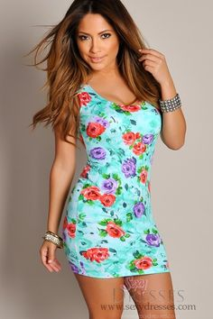 Sexy Green Floral Bloom Sleeveless Mini Dress omg johnny how stinking cute!