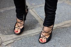Strappy heels.