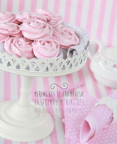 pretty pink meringues
