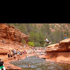 Sliding Rock Park Arizona , when in Az a must to go to slide rock and stay all day , it is a amazing OMG  my sister Kim fell in and traveled down the river and could not get out laughing so hard. The water is COLD but OMG a blast to do at least once