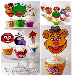 Muppet Printable Party Cupcake Wrappers and Toppers by OpalandMae First Birthday Parties, Birthday Party Themes, 2nd Birthday, First Birthdays, Birthday Ideas, Die Muppets, Cookie Monster Party, Muppet Babies, Baptism Party