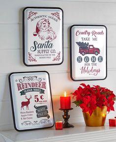 Nostalgic Metal Christmas Signs|LTD Commodities Christmas Signs, Christmas Decorations, Reindeer And Sleigh, Ltd Commodities, Lakeside Collection, Warm Blankets, Cool Countries, Metal Signs, Seasonal Decor