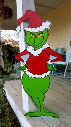 This listing is for high quality Standing Yard Art. He is made of outdoor wood, painted with outdoor mural paint and sealed for protection. Sealer and paint is non yellowing non fading with uv resistance. He stands approx Our yard art pieces use condu Grinch Christmas Party, Christmas Yard Art, Christmas Drawing, Christmas Wood, Outdoor Christmas, Primitive Christmas, Country Christmas, Christmas Christmas, Grinch Decorations