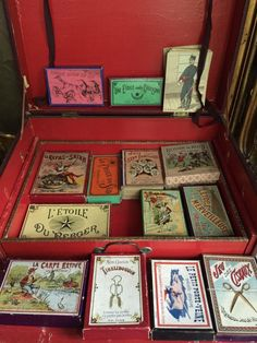 Antique table game box full Filled with a lot of games. Every little box is…