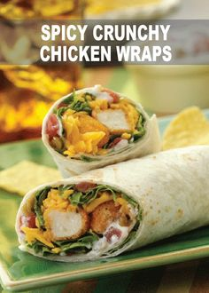 Crisp chicken tenders topped with spicy sauce, shredded lettuce and cheese wrapped in warm tortillas Spicy Crunchy Chicken Wraps - Make these Spicy Crunchy Chicken Wraps next time you're looking for a simple snack or meal! Chicken Wraps, Chicken Wrap Recipes, Crispy Chicken, Chicken Salad, Chicken Roti, Chicken Asparagus, Recipe Chicken, Healthy Chicken, Grilled Chicken