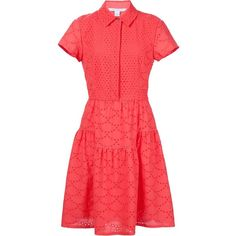 Diane Von Furstenberg broderie anglaise shirt dress (767 CAD) ❤ liked on Polyvore featuring dresses, red, long shirt dress, diane von furstenberg, shirt dress, long red shirt dress and red shirt dress