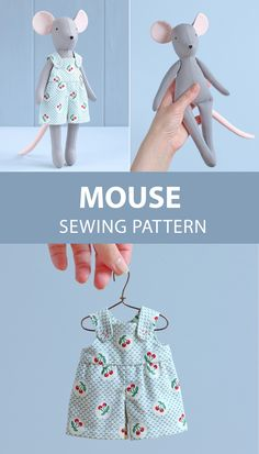 Mouse doll with sewing pattern - DIY soft toy, animal doll Mauspuppe mit Schnittmuster – DIY Stofftier, Tierpuppe … – UPCYCLING IDEEN Mouse doll with sewing pattern – DIY soft toy, animal doll …, - Animal Sewing Patterns, Doll Dress Patterns, Dress Up Dolls, Sewing Patterns Free, Pattern Sewing, Pretty Toys Patterns, Fabric Doll Pattern, Skirt Patterns, Coat Patterns