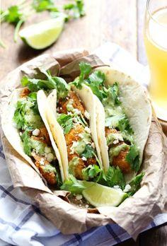 Crispy Fish Tacos with Spicy Jalepeño Sauce.