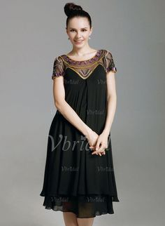 A-Line/Princess Scoop Neck Knee-Length Beading Chiffon Zipper Up Sleeves Short Sleeves No Black Spring Summer Fall General Mother of the Bride Dress