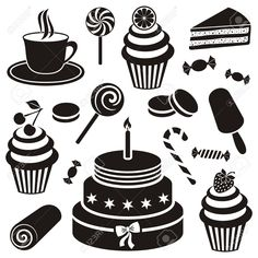 Black desserts and sweets icon vector silhouette collection Black Dessert, Silhouette, Birthday Cake, Sweets, Creative, Desserts, Projects, Food, Google