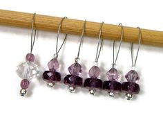 Beaded Stitch Markers Snag Free Amethyst Purple by TJBdesigns