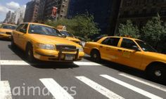 A general view of yellow cabs on the streets of Midtown in New York.