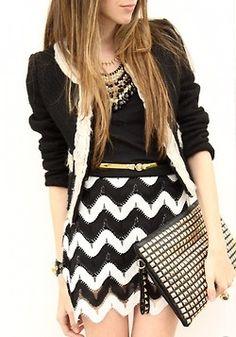 black + white + gold   saia com desenho chevron