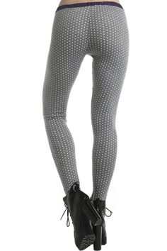 Little Point Print Grey Leggings #Romwe