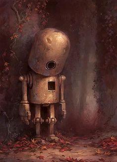 Se ve a un pequeño robot de color marrón claro de pié en una esquina. Tiene la cabeza de cono, con un agujero en la parte inferior, como si fuera un ojo. Luego, le sigue el cuerpo, con una pequeña pantalla a mi derecha como si fuera su corazón. Tiene las piernas cortas, con sus rodillas y unos brazos cortos con las manos grandes y sin codos. Las paredes son de color gris, donde se encuentran ramas de una planta que tienen un color granate y crecen hacia el suelo.