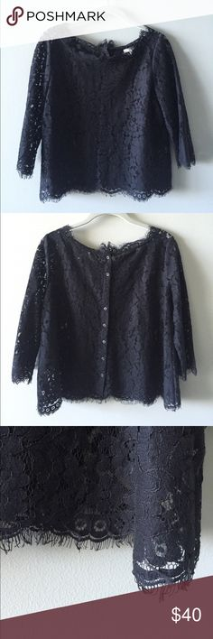 """Joie lace top Joie brand lacy top Color: muted Navy lace - hard to photograph color  Material: Cotton  Fit: Loose fit with straight sleeves and slightly """"boat neck"""" neckline Some pilling from cotton - see close up photos Great for lingerie inspired trends right now! Joie Tops Blouses"""
