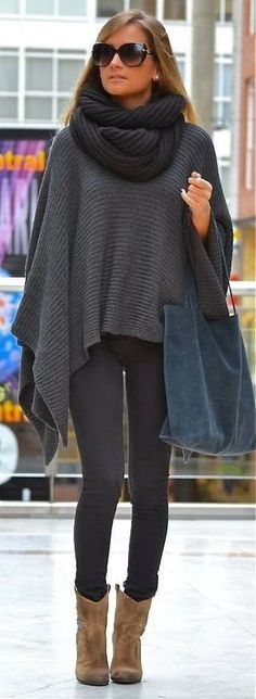 Love the poncho:) I would wear gray or black boots though, and a bright colored scarf and bag. That's just me though!