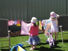 Wet Washing Hanging on the Line - pretend washing line for kids to hang their toys clothes on. Fun!
