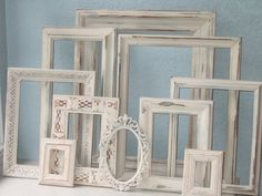 Wedding Picture Frames - Shabby Chic Frame Set of Ten on Etsy, Shabby Chic Mode, Shabby Chic Wall Decor, Shabby Chic Living Room, Shabby Chic Interiors, Shabby Chic Style, Bedroom Interiors, Painted Picture Frames, Picture Frame Sets, Wedding Picture Walls