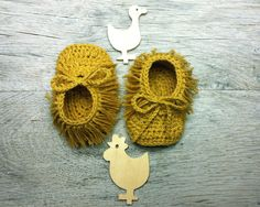 MAYA, Bohemian Baby Booties,Fringe Crochet Baby Shoes,Mustard Yellow,Recycled Cotton  Moccasins,Sizes 0-3,3-6,6-9 months,Made to Order by atelierbagatela on Etsy